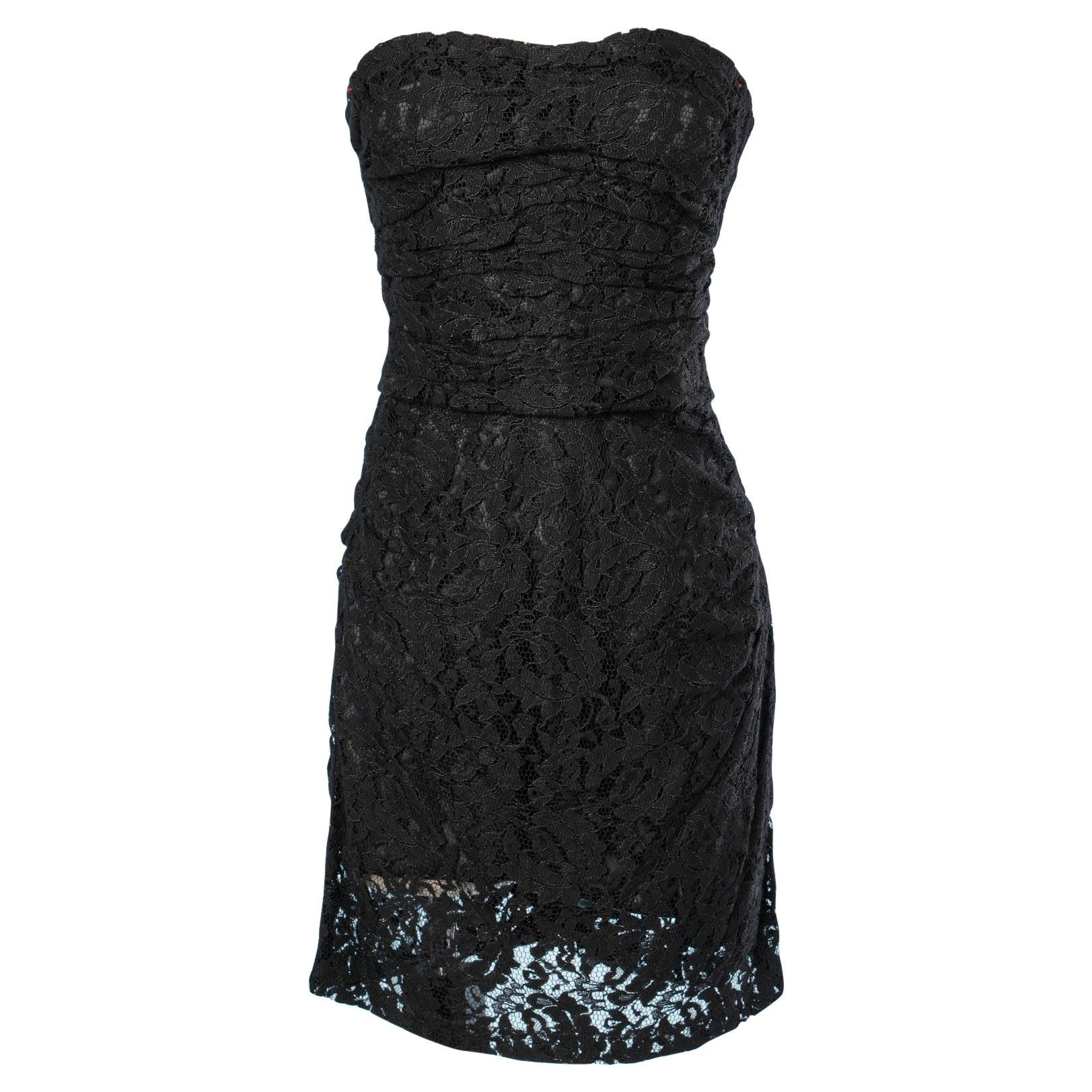 Mini dress bustier in black lace Dolce & Gabbana