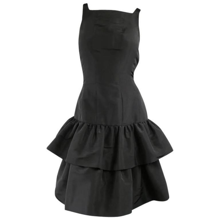 OSCAR DE LA RENTA 8 Black Silk Drop Waist Layered Ruffle Vintage Cocktail Dress For Sale