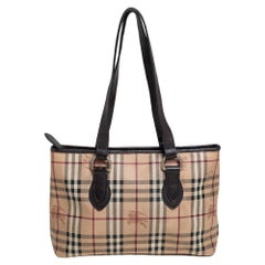 Burberry Brown/Beige Haymarket Check Coated Canvas and Leather Regent Tote