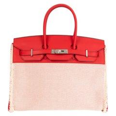 HERMES Rouge de Coeur Swift leather Ecru Toile H BIRKIN 35 FRAY FRAY Tote Bag