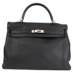 HERMES black Clemence leather KELLY 35 RETOURNE Bag Palladium