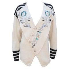 Kansai Yamamoto Beaded & Embroidered Cardigan Style Sweater, 1985