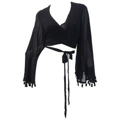 Dolce & Gabbana Wrap Crop Top with Tassels