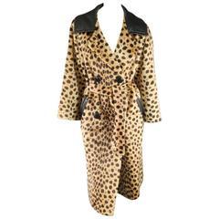 CHITA by FAIRMOOR Vintage Tan Cheetah Leaopard Faux Fur Leather Collar Coat