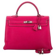 Hermes Kelly 35 Candy Rose Tyrien Bag