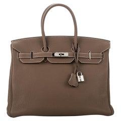 Hermes Birkin 35 Etoupe Togo Palladium Bag