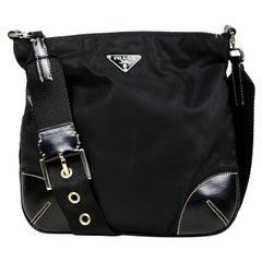 Prada Black Tessuto Nylon Crossbody Bag w/ Leather Trim & Buckle Detail