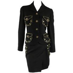 Vintage GIANNI VERSACE 1993 8 Black Gold Medusa Stud Leather Trim Skirt Suit