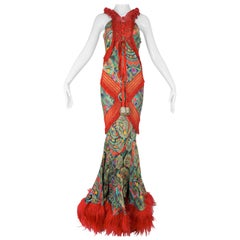 John Galliano Ethnographic Damask Print Runway Gown With Jacket Size 38/6, 2002