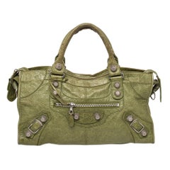 Balenciaga Light Olive Leather GSH Part Time Tote