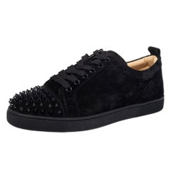 Christian Louboutin Black Suede Orlato Low Top Sneakers Size 40