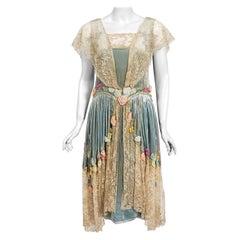 Vintage 1920's Sadie Nemser Couture Beaded Floral Appliqué Velvet & Lace Dress