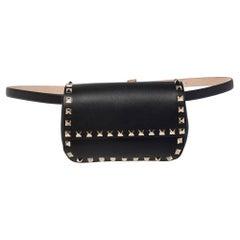 Valentino Black Leather Rockstud Flap Belt Bag