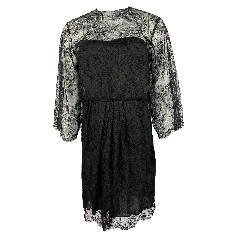 Oscar de la Renta Brown Lace Mini Dress