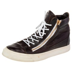 Giuseppe Zanotti Brown Leather Double Zipper High Top Sneakers Size 43.5