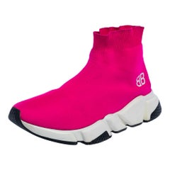 Balenciaga Pink Knit Fabric Speed Trainer High Top Sneakers Size 37