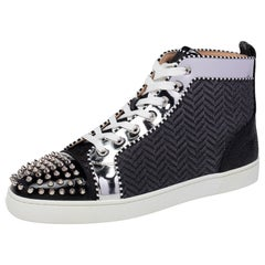 Christian Louboutin Black/Silver Fabric Spikes Orlato Flat Sneakers Size 44.5