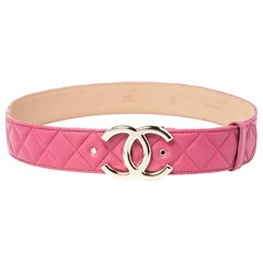 Chanel Pink Quilted Leather CC Buckle Belt 80 CM