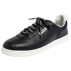 Chanel Black Leather Logo Lace Up CC Low Top Sneakers Size 41.5