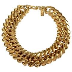 Vintage YVES SAINT LAURENT Ysl by Robert Goossens Chunky Chain Choker Necklace