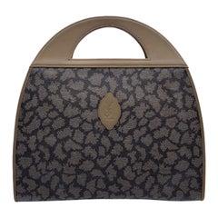 Yves Saint Laurent Vintage Tan Grey Giraffe Print Tote Bag