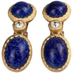 Vintage CHRISTIAN DIOR Lapis Lazuli Gilt Dangling Earrings