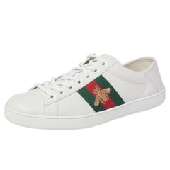 Gucci White Leather Ace Bee Low Top Sneakers Size 42.5