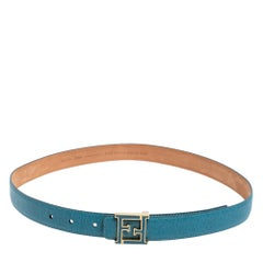 Fendi Blue Leather FF Logo Buckle Belt 85 CM