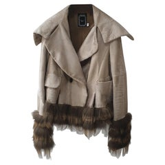 Christian Dior Beige Leather Fox Trimmed Jacket