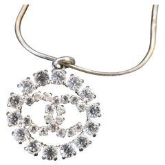 2000s CHANEL Silver Toned Rhinestone CC Charm Necklace