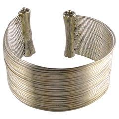 Christian Dior Boutique Vintage Silver Toned Wire Cuff Bracelet