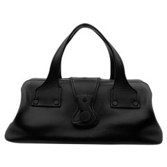 Gucci Black Leather Wood Hook Closure Handbag Satchel