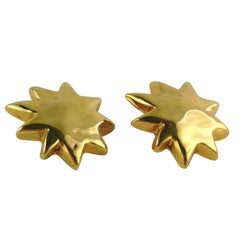 Christian Lacroix Vintage Gold Toned Resin Iconic Starburst Clip-On Earrings