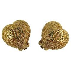 Christian Dior Vintage Logo Textured Heart Clip-On Earrings