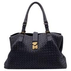 Bottega Veneta Grey Intrecciato Woven Leather Roma Tote Bag