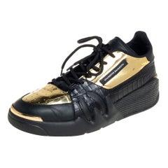 Giuseppe Zanotti Black/Gold Croc Embossed Leather Talon Low Top Sneakers Size 43