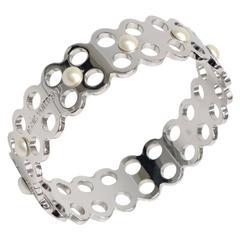 Louis Vuitton Silver Palladium Pearl Lattice Cuff Bangle Bracelet