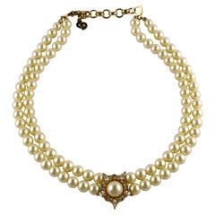 Christian Dior Vintage Jewelled Pearl Necklace