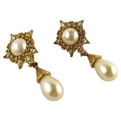 Christian Dior Vintage Jewelled Pearl Dangling Earrings