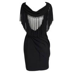 Thierry Mugler Draped & Fringed Cocktail Dress