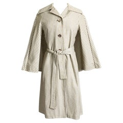 Donald Brooks Trench Coat Jacket with Caplet Check Pattern Vintage 70s