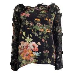 DRIES VAN NOTEN black silk FLORAL EMBELLISHED Blouse Shirt 36 S