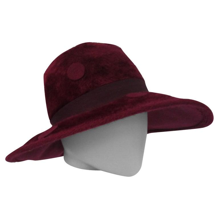 1970s Yves Saint Laurent Burgundy Faux Fur Hat with Grosgrain Band  For Sale