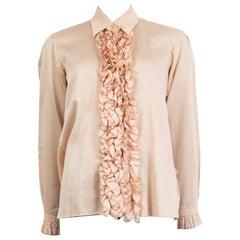JIL SANDER dusty pink cotton voile RUFFLED Button-Up Shirt 38 M