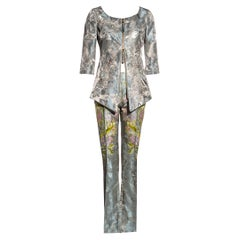 Gianfranco Ferre blue silk jacquard embroidered pant suit, ss 2000