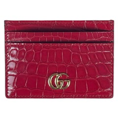 Gucci Unisex Red Alligator Skin GG Logo Marmont Card Case Wallet LIKE NEW w/ BOX