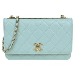 Chanel 2020 NEW Light Blue Quilted Trendy CC Wallet On Chain WOC Crossbody Bag