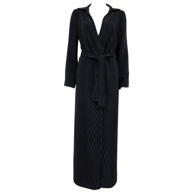 Yuki black silk oriental style shirt dress, c. 1970s