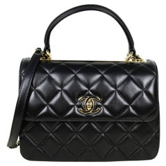 Chanel 2021 Black Lambskin Quilted Small Trendy CC Dual Handle Flap Bag