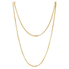 """55"""" Gold Boxy Link Chain Layering Necklace By Monet, 1970s"""